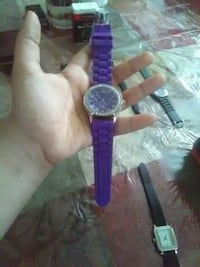 purple and silver analog watch