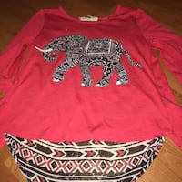 red and black elephant floral-printed crew-neck long-sleeved shirt