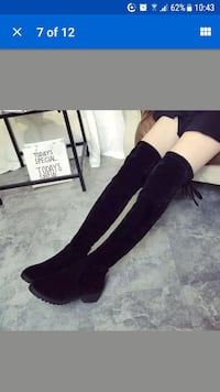 Ladies over knee boots, faux suede , black 37, new