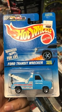 blue and white Hot Wheels Ford Transit Wrecker die-cast pack Whittier, 90602