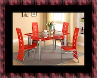 Glass red dining table with leather chairs 46 km
