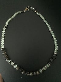 """Green Prehnite"" & ""Smoky Quartz"" Glass Bead Necklace"