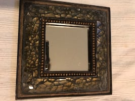 Squared mirror with brown frame