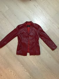 giacca button-up in pelle rossa 7732 km