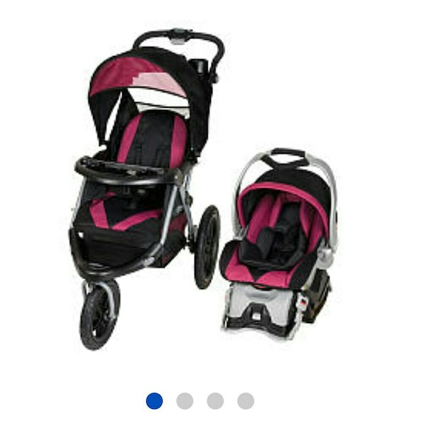 Black And Pink Jogging Stroller And Car Seat