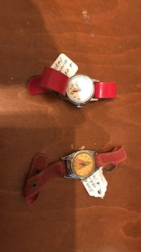 two round silver analog watches with red leather straps Vancouver, 98663