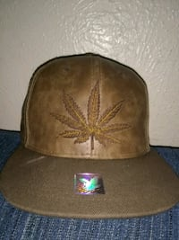 brown leather cannabis-printed fitted cap Dallas, 75208