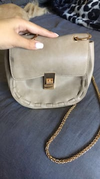 gray and brown leather crossbody bag Ceres, 95307
