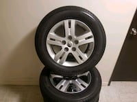 gray 5-spoke car wheel with tire set Mississauga, L5J 4B3