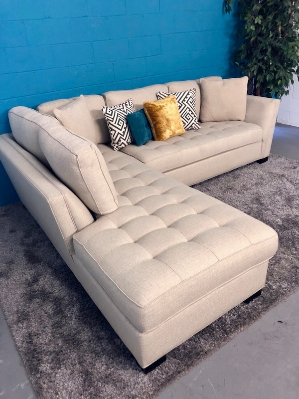 Astounding Memorial Day Sale Calvin Heights Cindy Crawford Sand 2Pc Sectional Sofa Free Delivery Machost Co Dining Chair Design Ideas Machostcouk