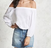Off the shoulder long sleeve woven top Springfield, 22152