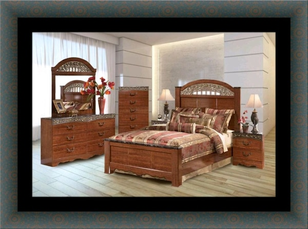 Used 11pc Ashley cherry bedroom set with mattress for sale in
