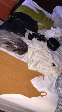 grey hair wig; orange knitted dress and white top Las Vegas, 89123