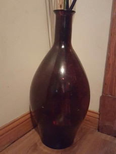"Red glass vase 24"" tall"