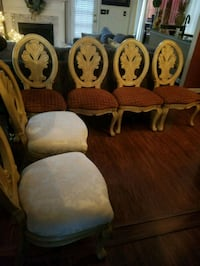 four brown wooden framed white padded chairs Lawrenceville, 30044