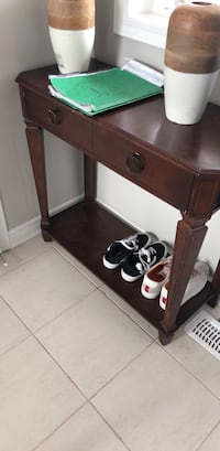 brown wooden single drawer side table Milton