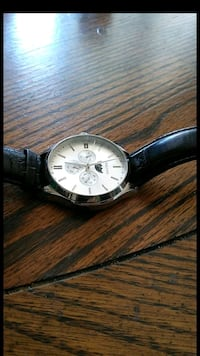 round silver-colored analog watch with black leather strap Anaheim, 92804