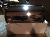 """BRAND NEW STAINLESS STEEL BREAD BOX DIMENSIONS 4.3"""" IN DIAMETER AND 15"""" IN HEIGHT. Patterson, 10509"""