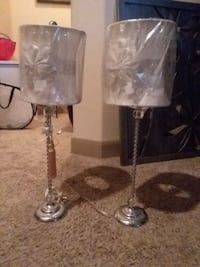 two clear glass candle holders HOUSTON