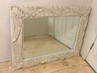 white wooden framed wall mirror null
