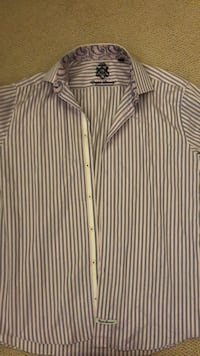 white and gray stripe button-up shirt Mc Lean, 22102