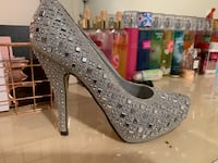pair of gray studded platform stilettos Ellisville, 63021