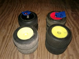 RC 1/10 scale stadium truck wheels and tires.