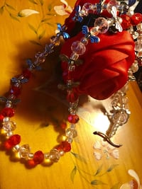 Fashion necklace with crystal and  glass beads & butterflies Alexandria, 22311