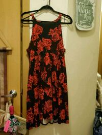 women's red and black floral sleeveless dress 2311 mi
