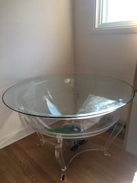round clear glass-top table fish tank- Coffee table