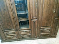 brown wooden framed glass display cabinet Chicago, 60639