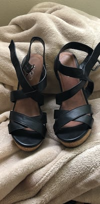pair of black leather open-toe ankle strap sandals Santa Monica, 90404