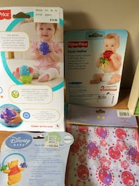 (5) Items - New in packages (2) Teethers, (1) Toy, (1) Care Bears Burpcloth + Set of Wooden Puzzles in Box Granger