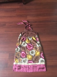 Women's brown and pink halter dress