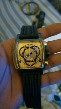square gold chronograph watch with black leather s Washington, 20001
