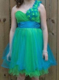 Juniors blue and green one strap dress