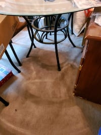 Microfiber brown dining table set with 4 chairs. Great condition!