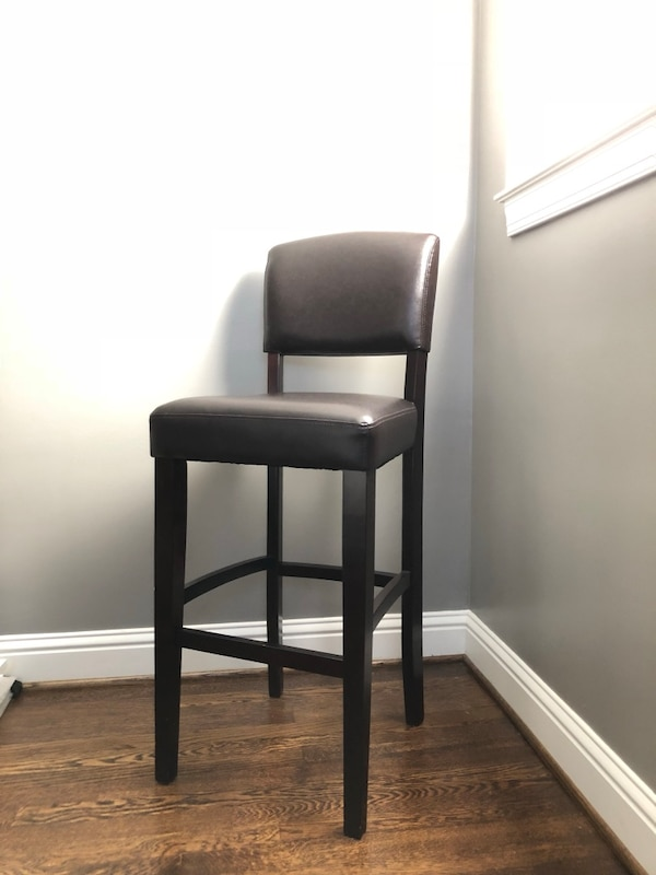 Astounding Dark Brown Wood And Faux Leather Bar Stool Tall Chair Armchair Target Spiritservingveterans Wood Chair Design Ideas Spiritservingveteransorg