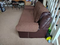 brown faux leather 3-seat sofa