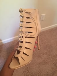 Pair of nude/tan leather open-toe heeled sandals Jackson, 30233