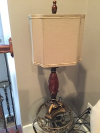 brown wooden base with white lampshade floor lamp Clive, 50325