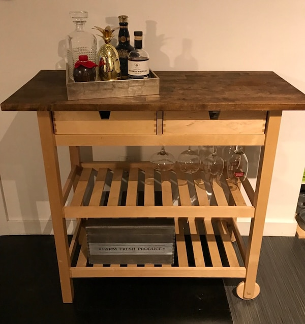 Bar Cart with Wine Rack kitchen Cart Vintage