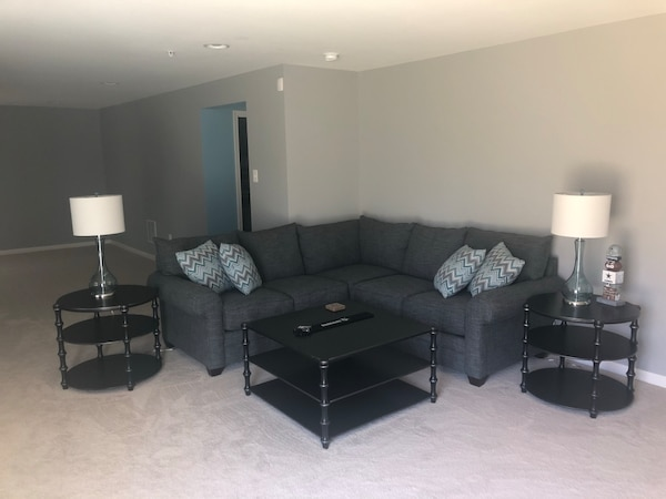 Used Sectional Sofa With End Table And Coffee Table For Sale In
