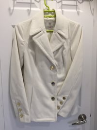 White Guess Peacoat with Gold button.  Toronto, M8W 4W3