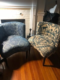 two black-and-white floral padded armchairs Frederick, 21701