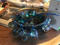 blue and green glass decor