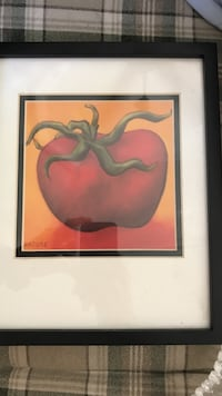black wooden framed painting of tomatoes