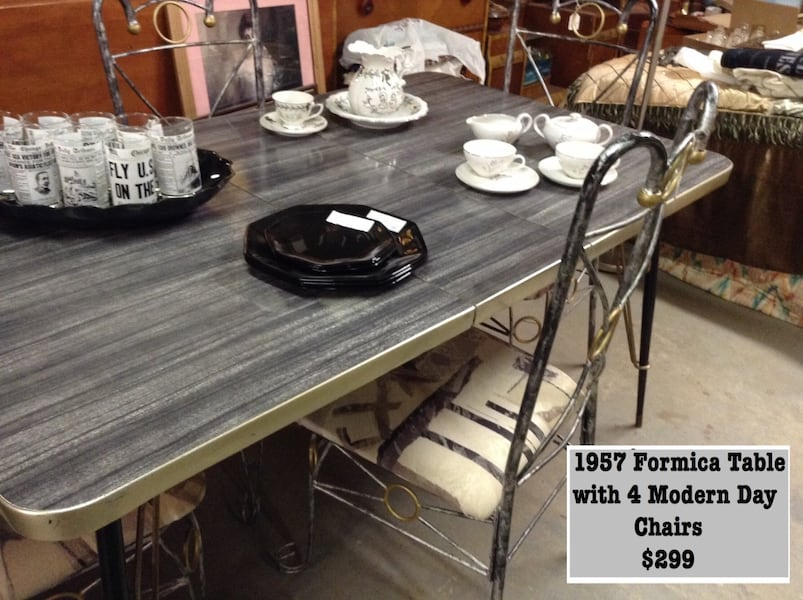 Used 1957 Formica Table With 4 Modern Day Chairs For Sale In