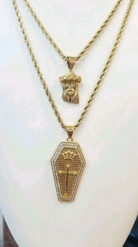 18K Gold Plated Rope Chains w/Micro Jesus Pc & CZ Mississauga