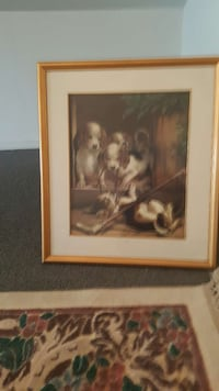 brown wooden frame painting of puppies Holbrook, 11741